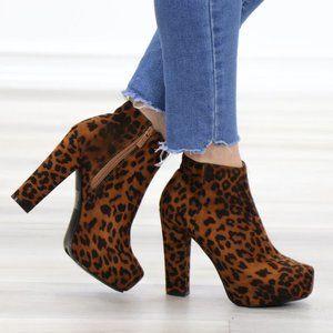 Leopard Suede Platform Ankle Heeled Booties